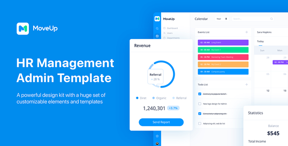 MoveUp - HR Management Admin Template for Adobe XD
