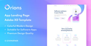 Orions – App Landing Page Adobe XD Template