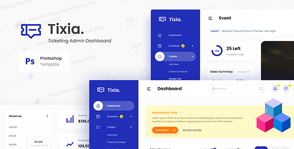 Tixia - Ticketing Admin Dashboard User Interface PSD Template