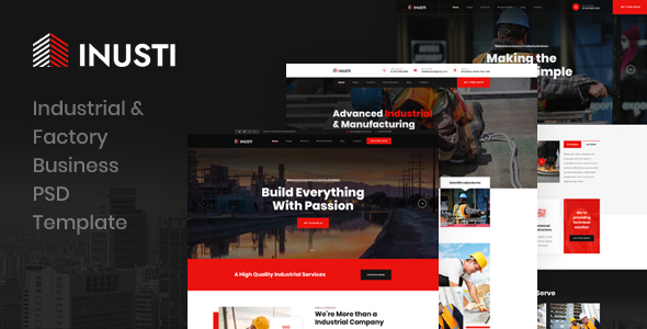 Inusti - Industrial & Factory Business PSD Template