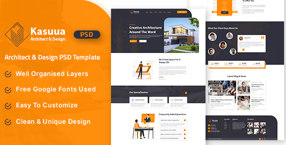 Kasuua - Architect & Design PSD Template