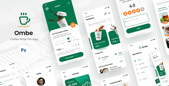Ombe - Coffee Shop iOS App Design UI Template PSD