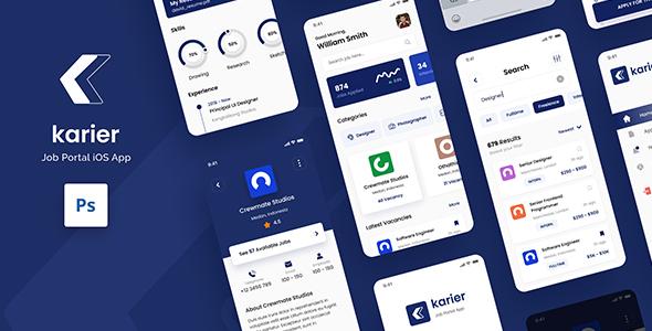 Karier - Job Portal iOS App Design UI Template PSD