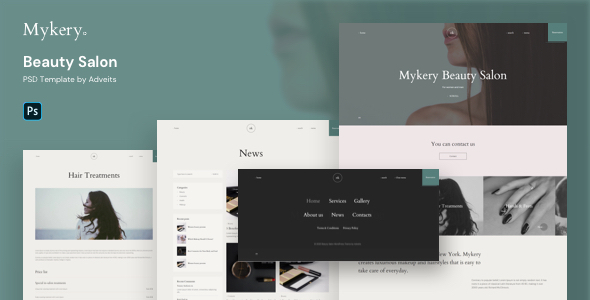 Mykery - Beauty Salon PSD Template