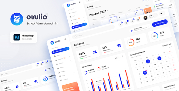Owlio - School Admission Admin PSD Template