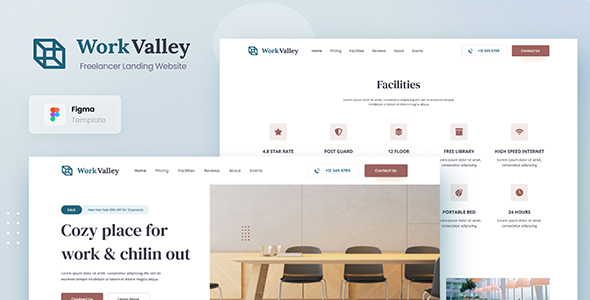 Work Valley - Coworking Space Website UI Design Template Figma