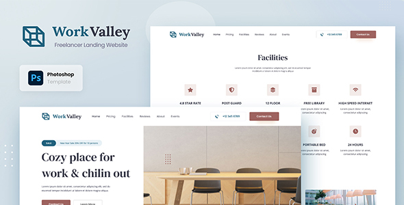 Work Valley - Coworking Space Website UI Design Template PSD