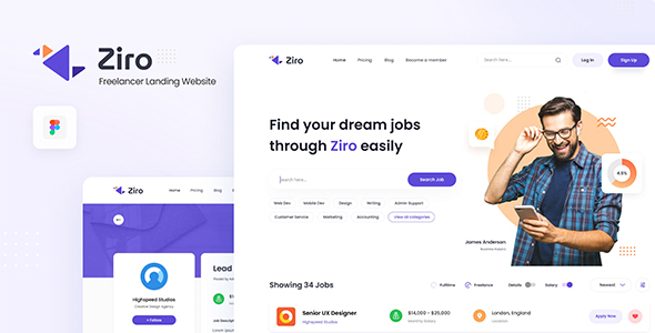 Ziro - Freelancer Directory Website Design Template Figma