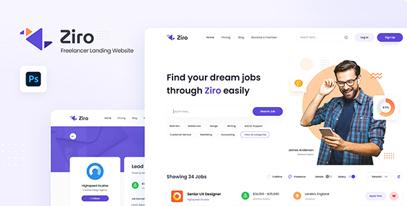 Ziro - Freelancer Directory Website Design Template PSD