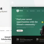 University Alumni Website Design UI Template PSD - Elmna