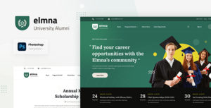 Elmna - University Alumni Website Design UI Template PSD