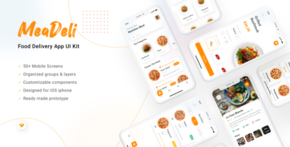 MeaDeli - Food delivery app UI Kit