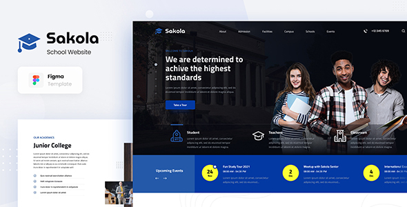 Sakola - Senior High School Website Design Template Figma
