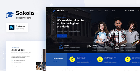 Sakola - Senior High School Website Design Template PSD