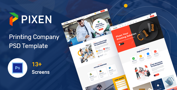 Pixen - Printing Services Company PSD Template