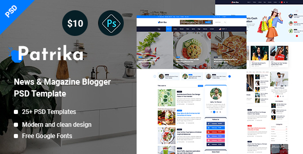 Patrika -  News & Magazine Blogger PSD Template