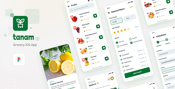 Tanam - Clean Grocery iOS App Design Template Figma