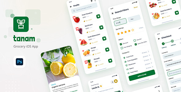 Tanam - Clean Grocery iOS App Design Template