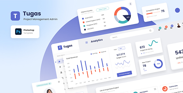 Tugas - Project Management Admin Dashboard PSD Template