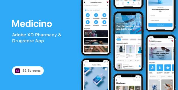 Medicino - Adobe XD Pharmacy & Drugstore App