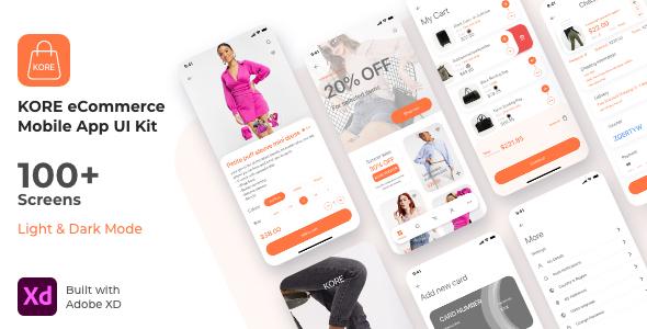 KORE shopping eCommerce App UI Kit | Adobe XD Template