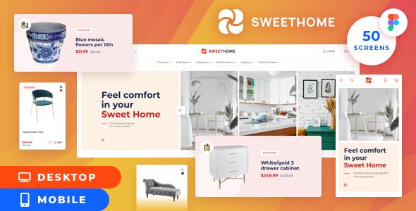 SweetHome – Desktop&Mobile eCommerce Figma Template