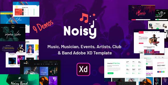 Noisy | Music Adobe XD Template